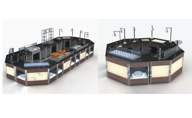 Fully Metal Multi Function Mobile Buffet Stations Multi